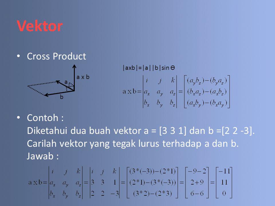 Vektor Cross Product. Contoh : Diketahui dua buah vektor a = [3 3 1] dan b =[2 2 -3]. Carilah vektor yang tegak lurus terhadap a dan b. Jawab :